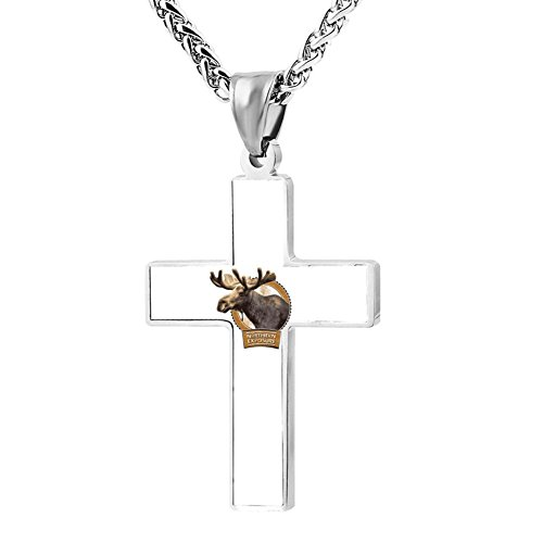 (FollowC Northern Buck Cross Pendant - Jewelry Zinc Alloy Chain Necklace for Men Women, 24 Inches)