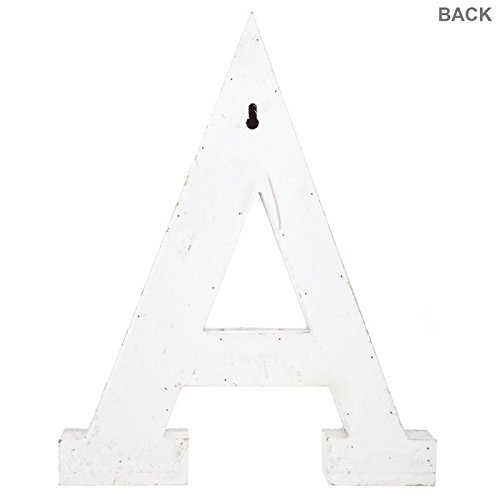 Distressed White Alphabet Wall Décor/Free Standing Monogram Letter A by Generic (Image #2)