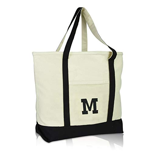 DALIX Initial Tote Bag Personalized Monogram Black Zippered Top Letter - M