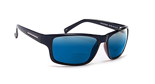Coyote Eyewear BP-13 Polarized Bi-Focal Reading Sunglasses in Black w/Blue Mirror Lens +2.50 by Coyote