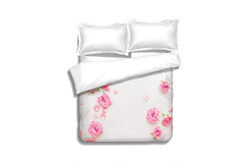 (Home 3 Piece Print Quilt Set,Pink Roses Buds and Petals Scattered on White Background,Soft,Breathable,Hypoallergenic,Patterned Technique King Quilt Set)
