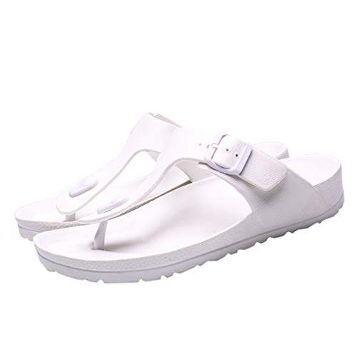 Respctful✿Men Flip Flop Fashion Slip On Sandals Indoor and Outdoor Beach Flip Flop Shoe Shoes Leather Toe Beach White