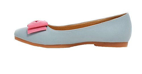 Shoes Blue Pull Toe PU Low Round AmoonyFashion On Heels Pumps Womens Solid PvwFx