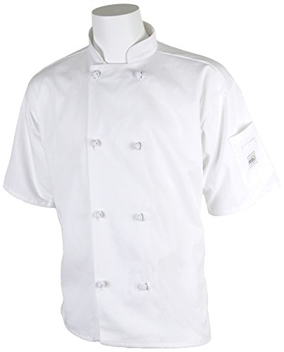Mercer Culinary M60014WHS Millennia Men's Short Sleeve Cook Jacket with Cloth Knot Buttons, Small, White