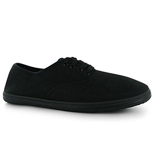 Slazenger Herren Casual Laced Canvas Schuhe leicht Textile, Schwarz