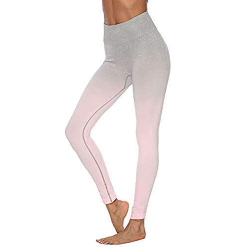 (Emimarol Women High Waist Yoga Pants with Pockets, Tummy Control Workout Running Yoga Leggings for Women Pink)