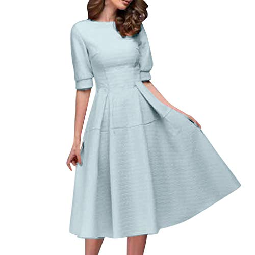 Dresses for Women Summer Mini Skirt Vintage Patchwork Half Sleeve Pockets Slim Fit and Flare Swing Dress High Waist Stretch Bodycon Pencil Skirt Green ()