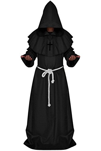 Clearoy Men's Friar Medieval Hooded Monk Renaissance Priest Robe Halloween Costume Cosplay M Black