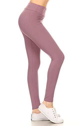 Leggings Depot Waist REG/PLUS Women\'s Buttery Soft Solid Leggings