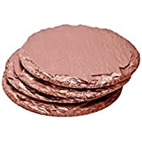 Renee Redesigns Round Hand Painted Rose Gold Slate Drink Coasters, Holiday Gift Set of 4 | Protects Table Surfaces | For Hot & Cold Beverages and Candles