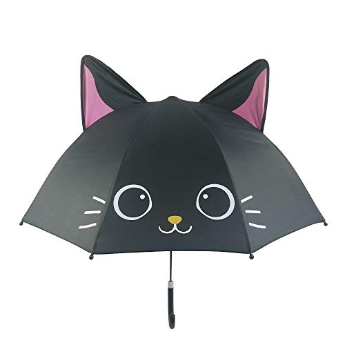 Spring Color Adorable and Durable Kids Umbrella – Children's Rainy Day Umbrella (Black Cat)