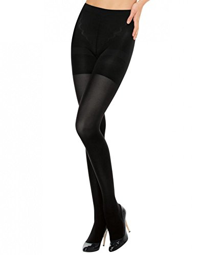 Stripe Sexy Tights Hosiery (ASSETS Red Hot Label by SPANX Medium Control Tights, 5, Black)