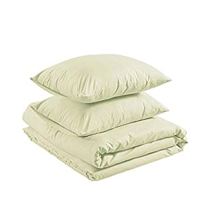 Amazon Basics Organic Percale Duvet Comforter Cover Set, Full / Queen, Linen