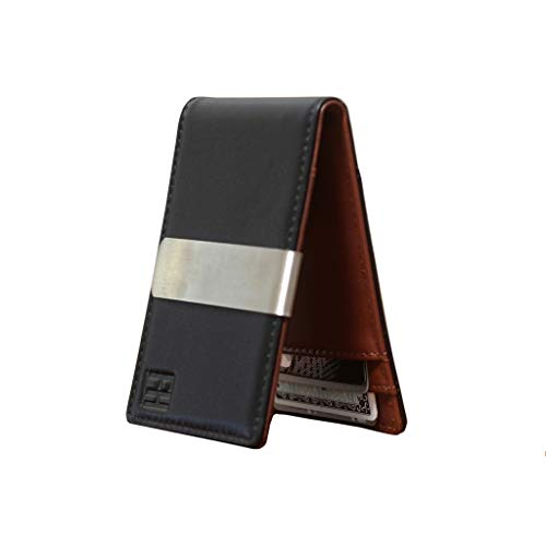 F&H Minimalist Slim Leather Wallet Money Clip Holds 8 Cards (Two-Tone Black/Brown)