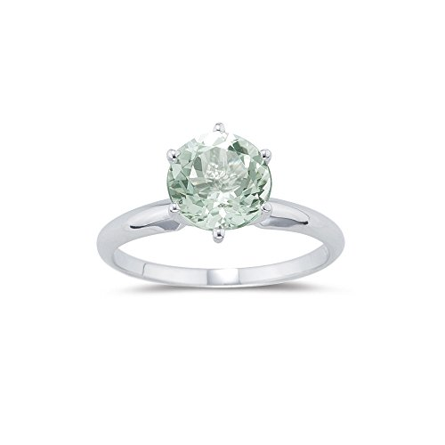 1.70-1.95 Cts 8 mm AAA Round Green Amethyst Solitaire Ring in 14K White Gold-5.0