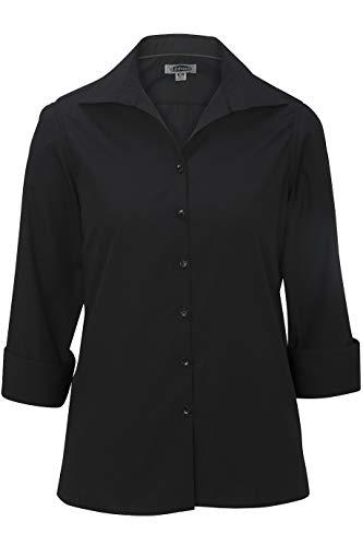 (Edwards Ladies' Lightweight Open Neck POPLIN Blouse 3/4 Sleeve X-Large Black)