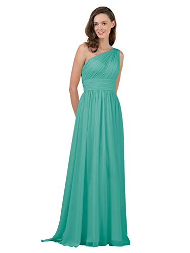 Alicepub One Shoulder Bridesmaid Dress for Women Long Evening Party Gown Maxi, Tiffany, US12