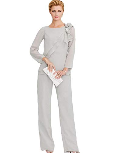 The Peachess Mother of The Bride Pant Suits Long Sleeve Wedding Guest Two Pieces Groom Mother Outfit Sliver