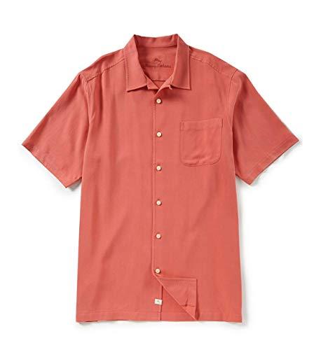 Tommy Bahama Men's Catalina Twill Short Sleeve Silk Big Tall Camp Button Front Shirt (LT, Bright Coral) - Silk Twill Shirt