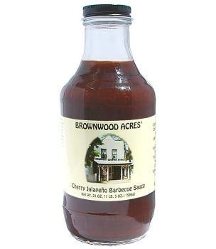 Sauces Acres - Cherry Jalapeno Barbecue Sauce by Brownwood Acres - Handcrafted in Michigan's Cherry Capital - 1 (19 Ounce) Jar