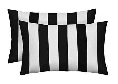 Set of 2 - Indoor / Outdoor Jumbo, Large, Over-sized, Rectangle / Lumbar Chaise Lounge Decorative Throw / Toss Pillows - Black White Stripe (Black And White Striped Chaise Lounge Cushions)