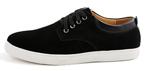 Femaroly Men's Skateboard Shoe Large Size Casual Suede Lace-up Breathable Leather Shoes Black 7.5M by Femaroly (Image #6)