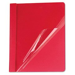 ** Clear Front Report Cover, Tang Fasteners, Letter Size, Red, 25/Box