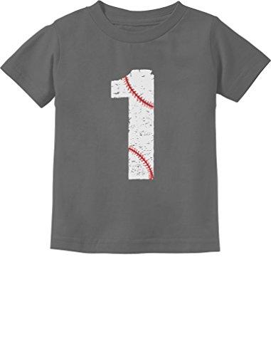 Baseball 1st Birthday Gift One Year Old Infant Kids T-Shirt 18M Dark Gray