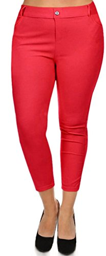 Simlu Womens Fitted Jean Look Legging Solid Color Basic Plus Size Capri Jeggings,Red,3X Plus