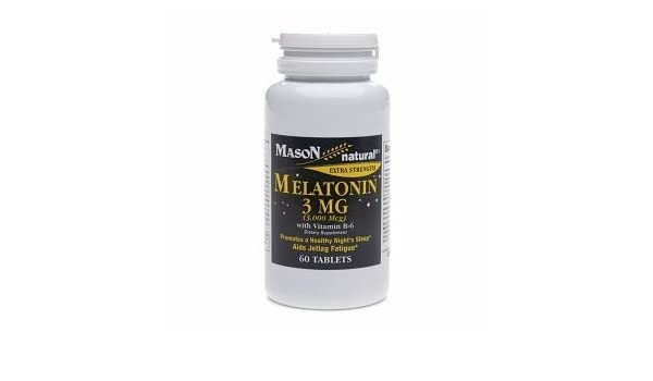Amazon.com: Mason Natural Melatonin, 3mg with Vitamin B-6, Tablets, 60 ea by Mason Vitamins: Health & Personal Care