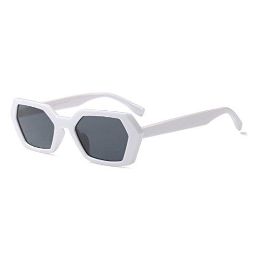 Fashion sol Frame Mujeres sol de Blanco de Leopard Vintage Green Polígono de UV400 Summer Gafas Goggle Square Aiweijia Gafas Gris q4wz66