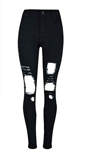Tengfu Women's Sexy Distressed Destroyed Ripped Slim Blue Baggy Jeans Pants (S(US 0-2), Black2)