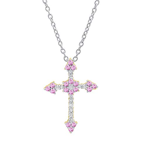 (Dazzlingrock Collection 18K Round Pink Sapphire & Diamond Ladies Floral Cross Pendant (Silver Chain Included), Yellow Gold)