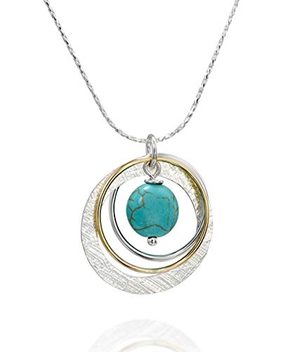 Two Tone Multi Hoops Turquoise Necklace 925 Sterling Silver & 14k Gold-Filled Pendant, 18