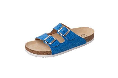 Wörishofer Bio-Pantolette 41110 - Zapatos con hebilla de cuero unisex azul leopardo