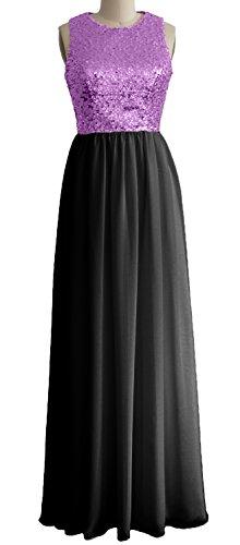 Dress Evening Bridesmaid Sequin Gown Lavender Long MACloth Chiffon O Black Neck Formal Women ZwOwqH0
