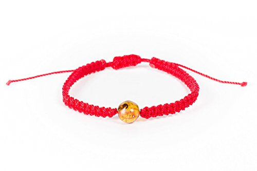 Red Bracelet made by Hand with Mexican Amber Bead for Good Luck and Protection Perfect Gift for Men or Women Unisex Adjustable