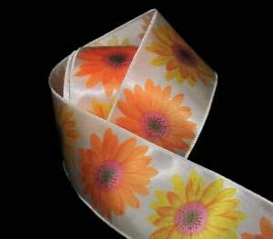 Daisy Gerbera Balloons (6 Yards Big Yellow Orange Gerbera Daisy Flower Daisies Satin Wired Ribbon 2 1/2