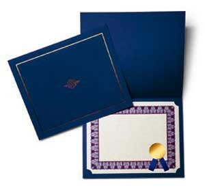 Certificate Jackets - Blue/Silver - 758442S 10 pk Printed Paper Products Ltd MS6251074