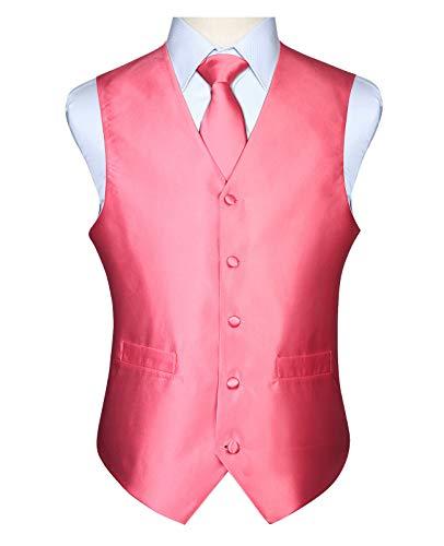 Jacquard Et De Gilet Couleur Poche Hommes Unie En Rose Cravate Pour Hisdern OI7xUqU