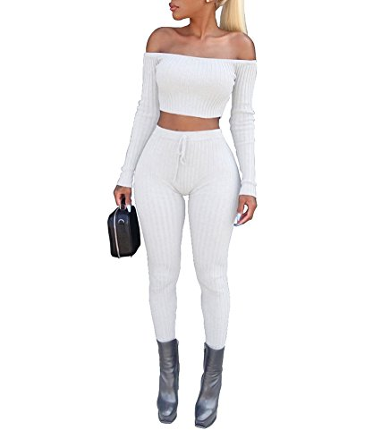 Sexy Outfit For Ladies (Vamvie Women's Sexy 2 Pieces Off Shoulder Long Sleeve Crop Top+Long Pant Bodycon Jumpsuit Skinny Romper White-Small)
