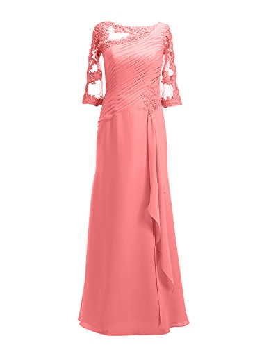 Womens Sleeves with ALAGIRLS Dresses Party Coral Applique Evening Long Half Chiffon Gowns Prom SPq1AzdrP
