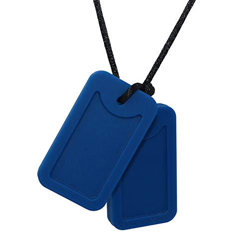 Sensory Chew Necklace for Kids,Adults, Boys and Girls - Military Dog Tags Chewable Silicone Necklace for Teething, Autism, Biting, ADHD, SPD Pendant (Navy Blue)