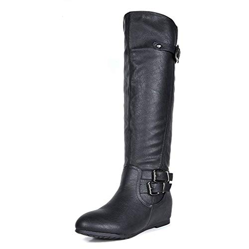 DREAM PAIRS Women's Franca Black Knee High Hidden Wedges Winter Riding Boots Size 7.5 M US