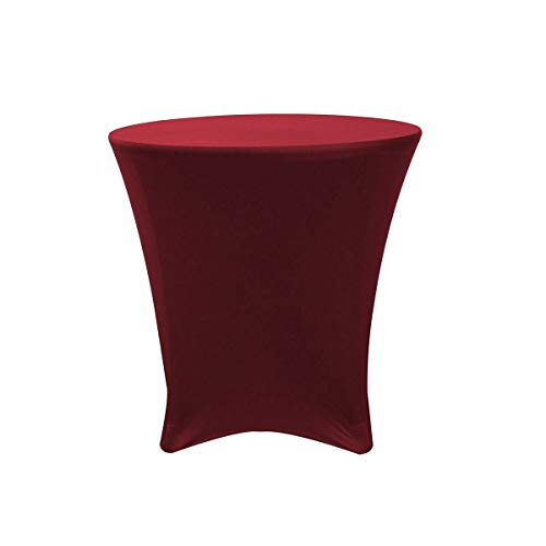 - 30 x 30 inch Round Cocktail Burgundy Stretch Tablecloth Spandex Table Cover #YCC01