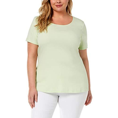 Karen Scott Womens Plus Short Sleeves Crewneck T-Shirt Green 1X
