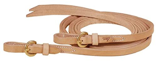 TORY LEATHER Single Ply Reins - Brass Buckles - Harness Leather - 5/8