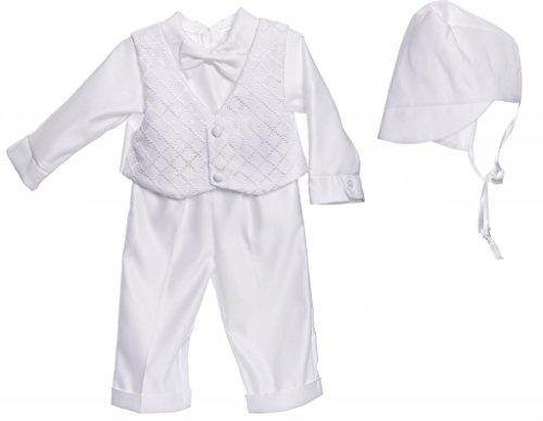 Caldore Boys Christening Checkard Vest Pants Set Size 3-6 XS White ()