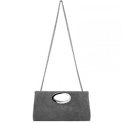 Pelle in CASPAR Manico TL699 Grigio Scuro Donna di Pochette Scamosciata con Metallo 7xFxZqI1w