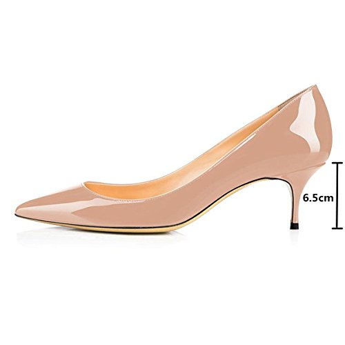 Mavirs Womens Chiuso Scarpe A Punta Basse Con Gattina Sul Tallone Brevetto Slip On Dress Pump Shoes 4 Nude